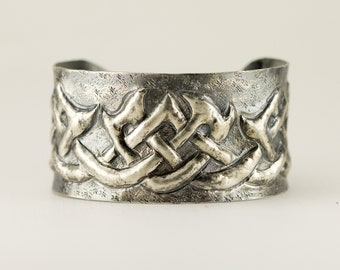 Celtic Knot Sterling Cuff - Gaelic Tribal Pattern Bracelet - Mystic Knot - Endlessd Knot
