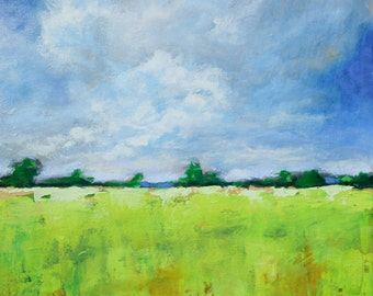 """Original Abstract Landscape painting – 16"""" X 20"""", Media Groove Studios – Open Spaces -Wall art-wall decor - painting"""