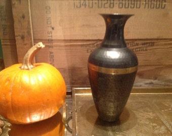 Brass hammered heavy vase