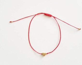 Red Bracelet, Heart Bracelet, Tiny Heart Bracelet, Tiny Bracelet, Friendship Bracelet, Charm Bracelet, Minimal Bracelet, String Bracelet