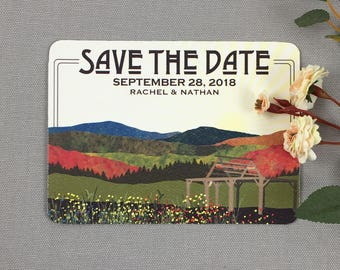 Fall Appalachian Mountains with Wildflowers and Cedar Arbor Rustic Save the Date Postcards - JA1