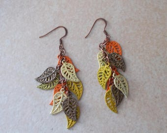 Boho Hand Painted Leaf Fringe Cluster Dangle Earrings in Multiple Colors
