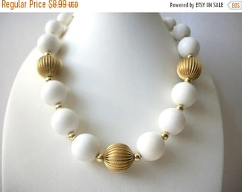 ON SALE Vintage White Plastic Gold Tone Metal Beads Shorter Length Necklace 102516