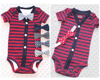 Twins Clothing Set, Baby Boy and Baby Girl Set, Baby Boy Cardigan and Bow Tie Set, Baby Girl Cardigan and Headband Set, Baby Clothes