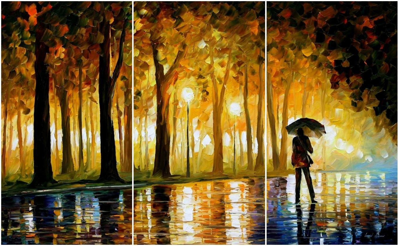 Bewitched Park Set Of 3 Paintings Extra Large Wall Art Oil