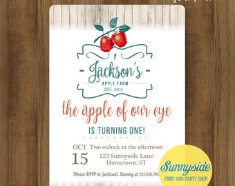 Apples Birthday Party or Baby Shower Invitation // rustic fall apple farm invite // printable or printed invitations farmers market