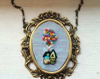 Up, up and away necklace - house, balloons, adventure is out there