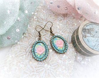 Shabby chic roses cameo earrings and turquoise Crystal