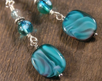 Turquoise czech glass beads and silver handmade earrings
