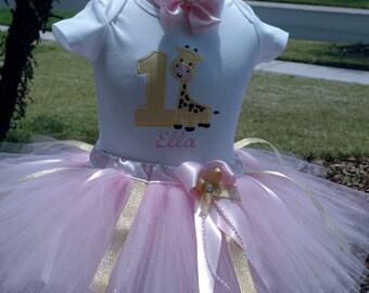 Giraffe Tutu Outfit,1st birthday tutu outfit,one year girl outfit,giraffe girls outfit,1st birthday girl,first birthday girl outfit,baby