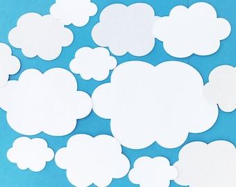 Clouds, Cloud cut outs, Cloud bulletin board, weather, teacher aid, cloud die cuts, cloud backdrop, white clouds. blue sky, cloud scrapbook