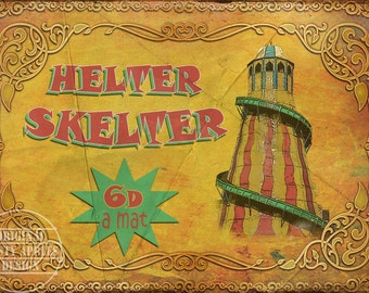 Helter Skelter Fairground Vintage Retro Style Metal Sign Funfair Circus Carnival 3 Sizes To Choose From