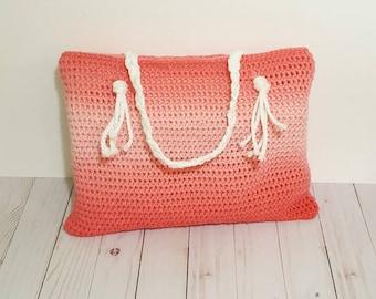 Crochet Tote Bag, Coral Tote Bag, Ombre Tote Bag, Pink Purse, Crochet Bag, Crochet Purse, Boho Bag, Handmade Purse, Coral Crochet Bag