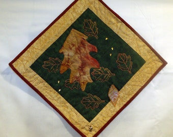 Red Oak Leaf Fall Wall Hanging One of a Kind Art