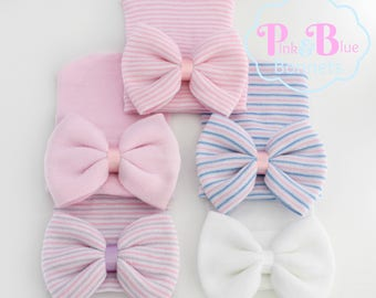 Newborn girl Hospital Hat with bow and bow Baby Girl Newborn Hospital Hat Beanie with Big Pink Bow Hat with Baby Bow - PINK