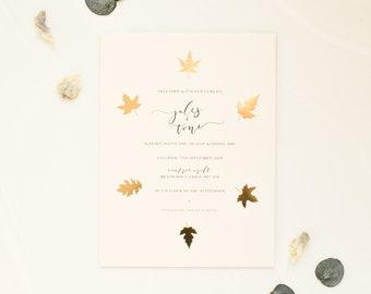 Gold leaf foil stamped invitation