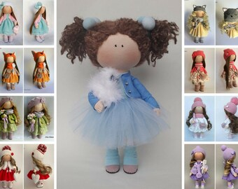 Fabric Doll Blue Doll Nursery Doll Collectable Doll Cloth Doll Baby Doll Rag Doll Interior Doll Tilda Decor Doll Handmade Doll by Irina E