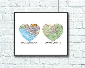 Custom 2 Hearts Wedding Couple Vintage Maps DIGITAL DOWNLOAD for you 2 Print, Engagement gift Personalized, Gift for Couple,diy, 8x10 11x14