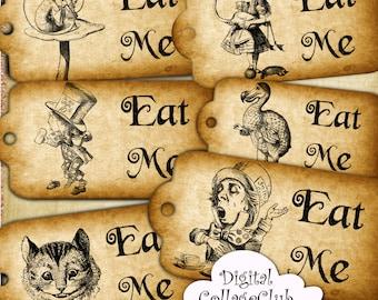 Alice in Wonderland Eat Me Alice Quote Alice Printable Tags Alice Tea Party Time Alice Digital Collage Digital Tags Alice Tags