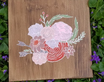 Hand painted Floral Painting | Flower Art | Bouquet Wallhanging | Chalk Artwork |