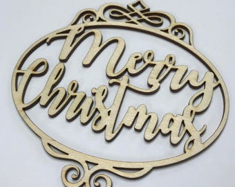 Wood Christmas Ornament, Laser Cut Wood Ornament, Christmas Ornament, Merry Christmas Ornament