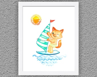 Fox Art, Fox Painting, Fox on a Surf Print, Fox Nursery Decor, Fox Art Print, Watercolor Painting, Animal Art, Watercolor Animal,Nursery Art