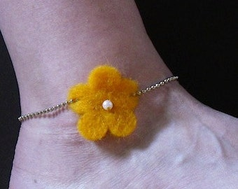 Orange Funky Felt Flowers Anklet