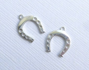 Sterling Silver Horseshoe Charms -- 2 Pieces -- 925 Sterling Good Luck Horse Shoe Pendants