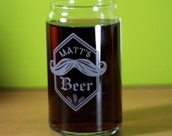 Custom Mustache and wheat 16oz can glass.  Homebrew, Beer, Beer Gift, , Beer Glass, Beer Tools , Beer Glass, Beer Tools