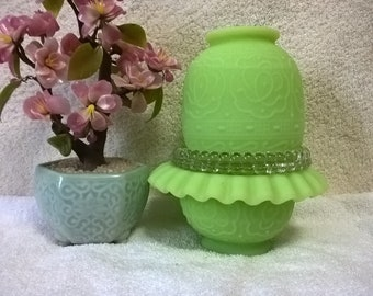 Fenton Fairy Lamp Persian Medallion In A Frosted Lime Green