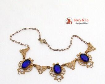 SaLe! sALe! Vintage Necklace Deep Blue Glass Stones Costume Jewelry