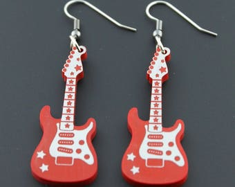 Rockin' Supertash Red Stratocaster Guitar Earrings