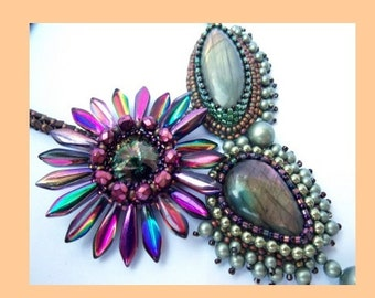 Tutorial , Pattern,  Bead embroidery ,Beading pattern , Instructions only , Cactus flower, Necklace tutorial