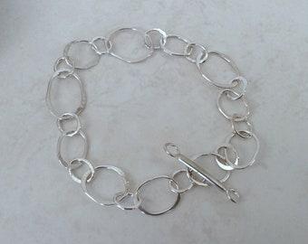 Large Link Chain Silver Bracelet Artisan Sterling Silver Contemporary Bracelet