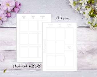 WO2P | Week on 2 pages | A5 | Printed | Planner | Insert | Plain | Filofax | Kikkik | Undated