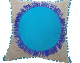 Aqua Pom Pom Cushion, Large Pom Pom Cushion, Pom Pom and Tassel Cushion, Aqua Pom Pom Pillow