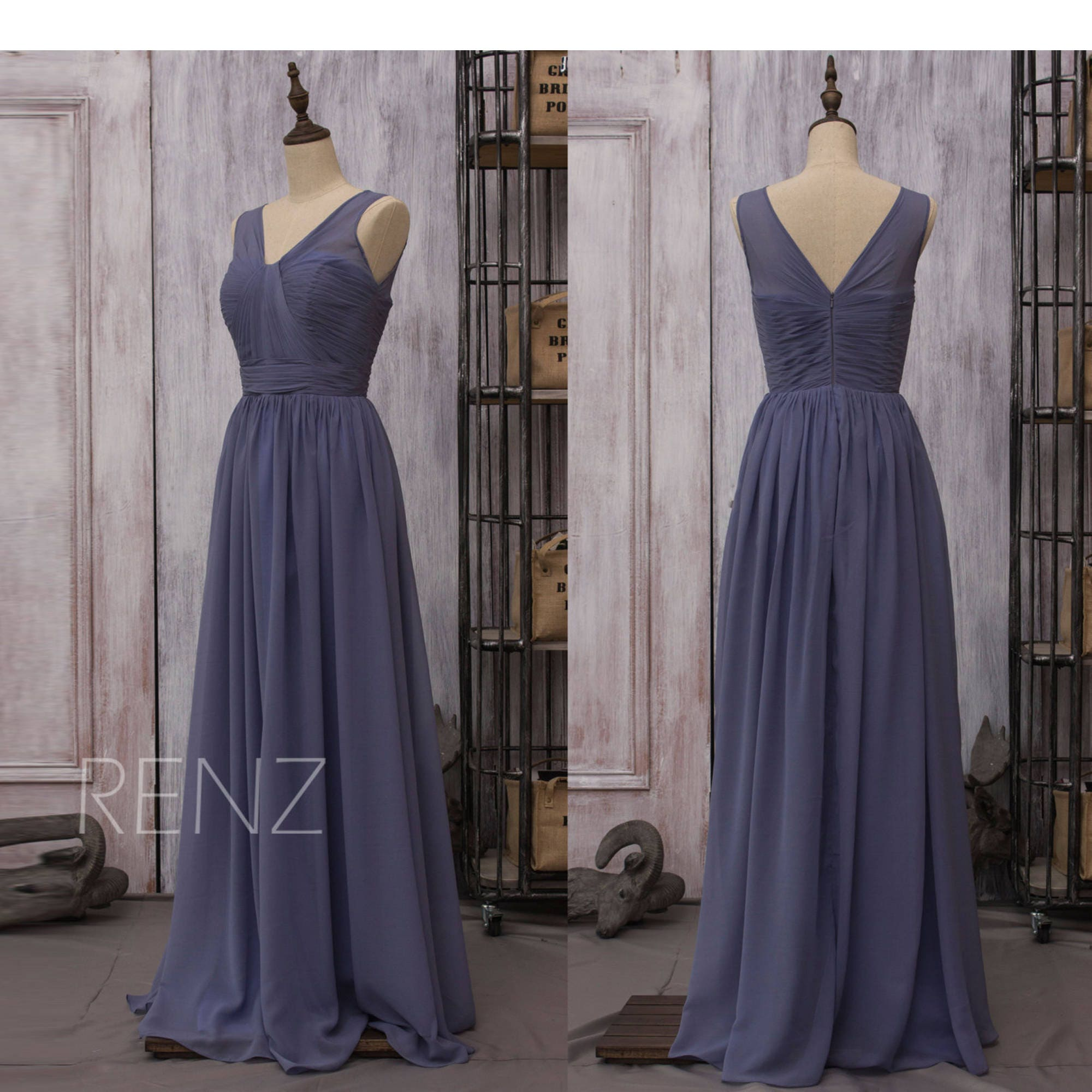 Chiffon Steel Blue Bridesmaid Dress Long Wedding Dress V