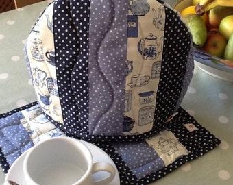 Blue patchwork tea cosy and mat set