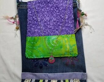 Pretty one of a kind Denim Pocket Boho purse