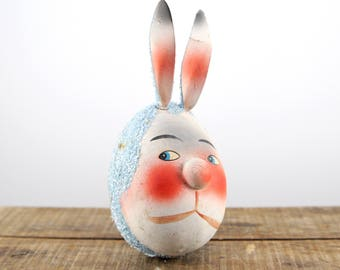 Easter Bunny German Paper Mache Candy Container -- Flocked West Germany Candy Holder -- Rabbit Head