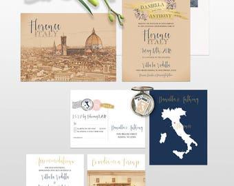 Tuscany Florence Italy destination wedding invitation Navy Gold - customizable European Illustrated Wedding Invitation Suite Deposit Payment