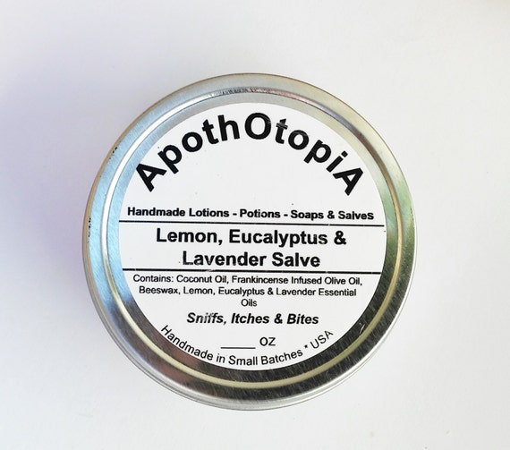 Lemon, Eucalyptus and Lavender Essential Oil Salve -Frankincense & Lavender Infused Oil Ointment, Balm, Organic, Soothing, Sinus, Allergies