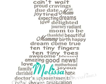 Mom To Be Word Art, Nursery Art, Pregnancy Word Art, Personalized Baby Shower Gift, Personalized New Mom Gift, PRINTABLE DIGITAL FILE