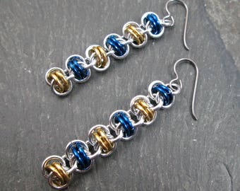 Chainmaille Earrings - Chainmail Jewelry - Gold Blue and Silver - Chainmaille Jewelry - Barrel Weave - Dangle Earrings