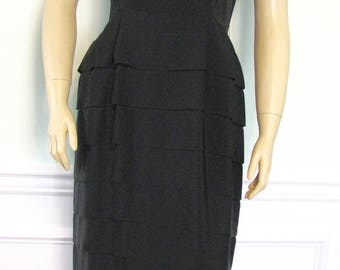 1950s Dress Black Wiggle Tiered LBD Black Size 6