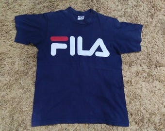 vintage FILA T SHIRT big logo size S made in usa