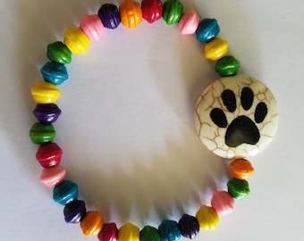 Rainbow Beaded Paw Print Bracelet