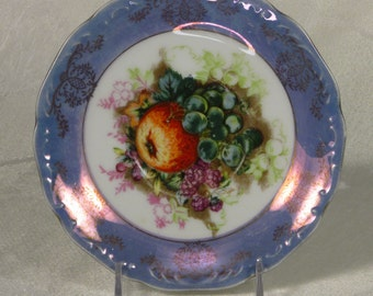 Royal Halsey Purple Iridescent Saucer with Fruit Design
