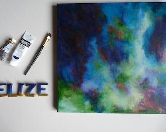 Abstraction Art Œuvre artistique abstrait Tableau Peinture nuages vert bleu Décoration moderne Carré Format 40 x 40 cm 15 x 15 inch