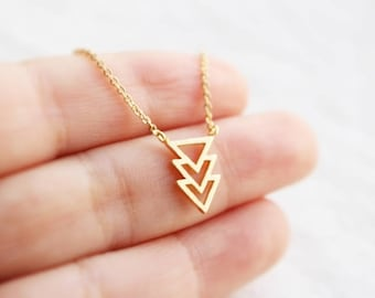 Chevron triangle necklace in gold, Arrow necklace, Geometric necklace, Layering, Bridesmaid jewelry, Everyday necklace, Wedding necklace